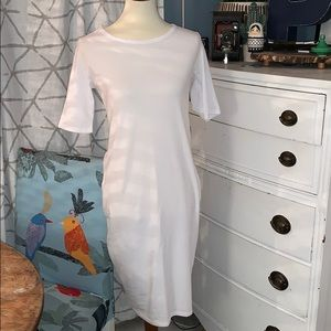 LulaRoe white fitted knee length dress